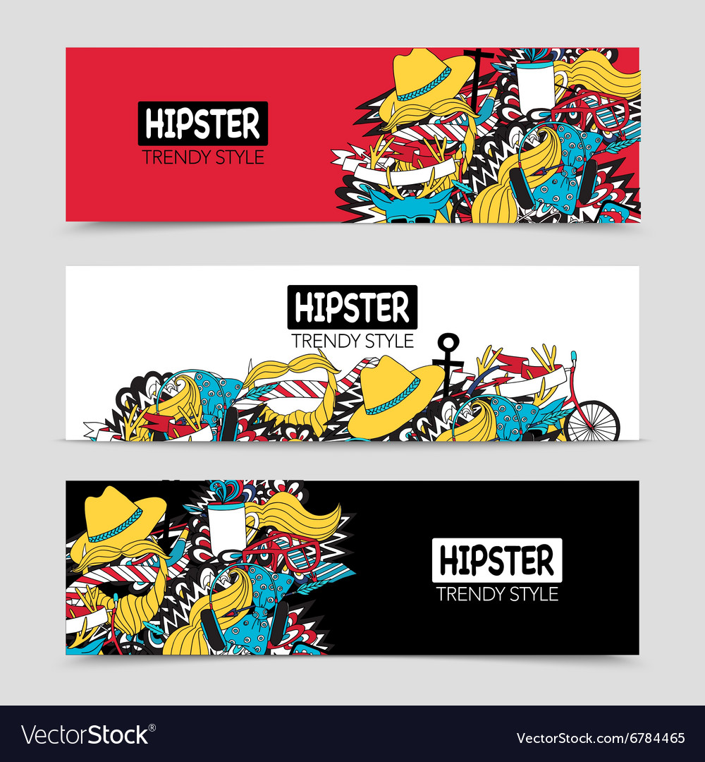 Hipster 3 interactive horizontal banners set vector