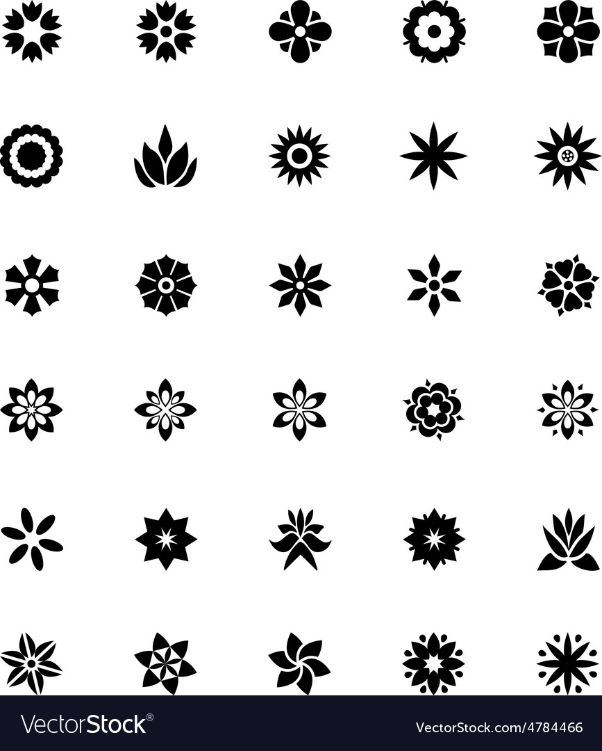 Flowers or floral icons 1 vector