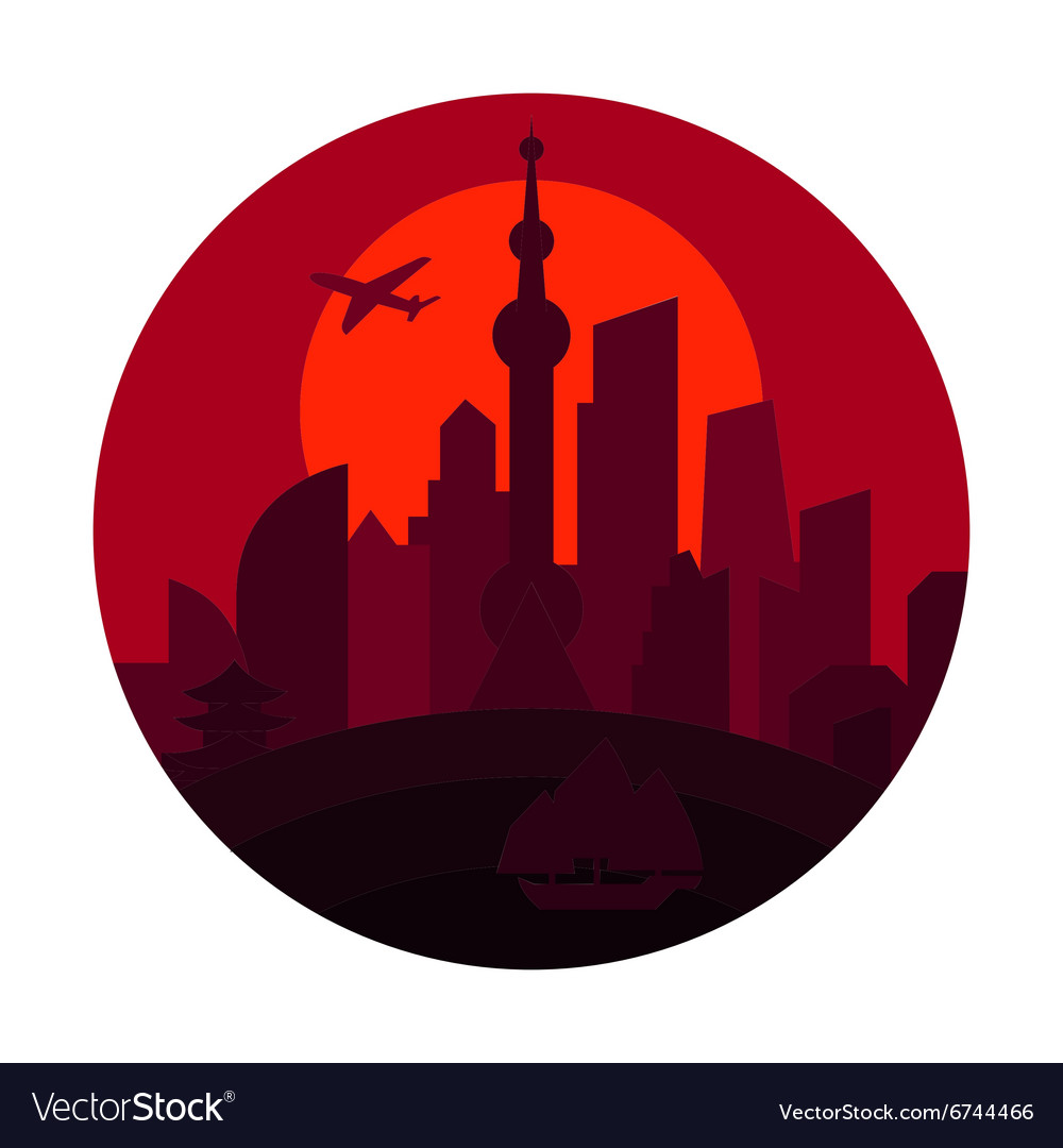 Shanghai city the shadow china building sunset red vector
