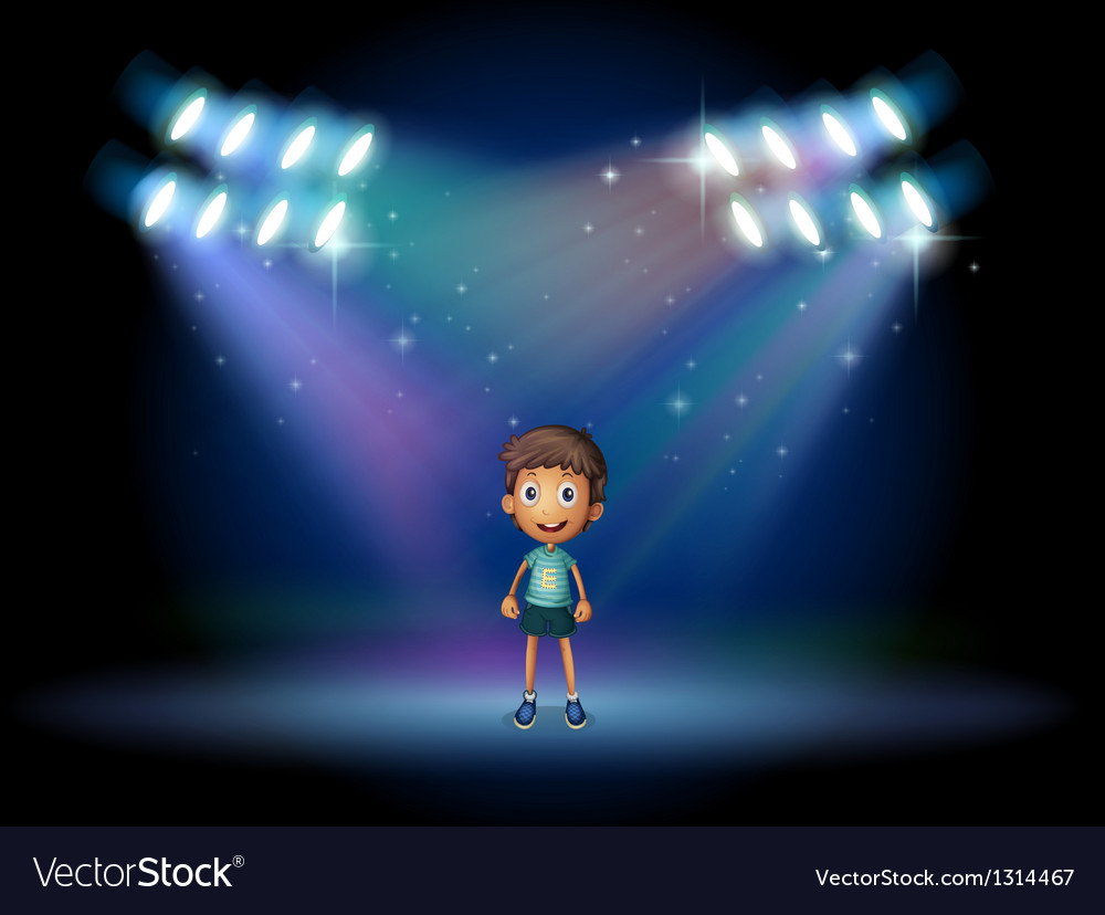 A boy smiling at the stage vector