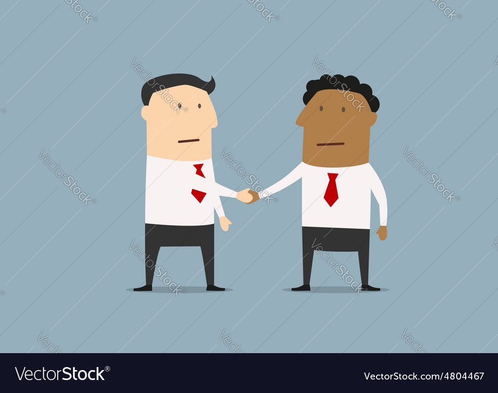 Businessmen of different ethnicities shaking hands vector