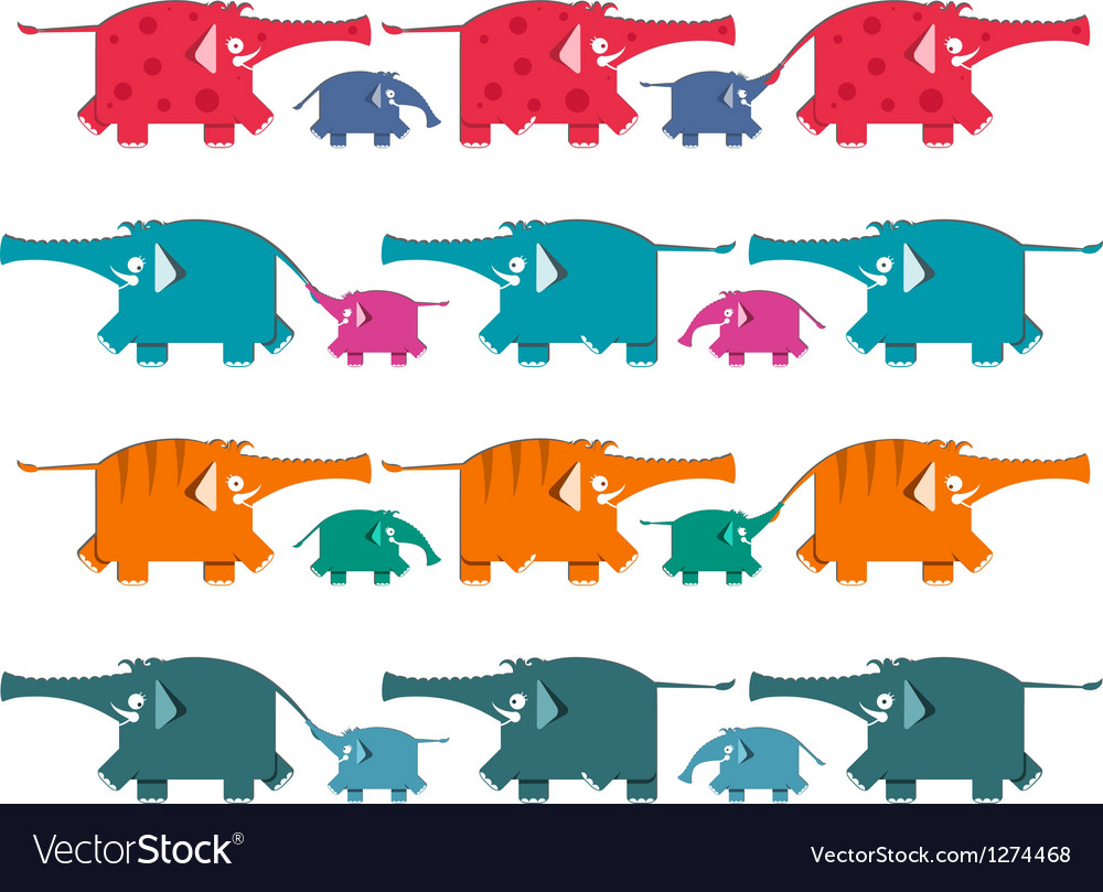 Funny graphic elephants herd collection vector