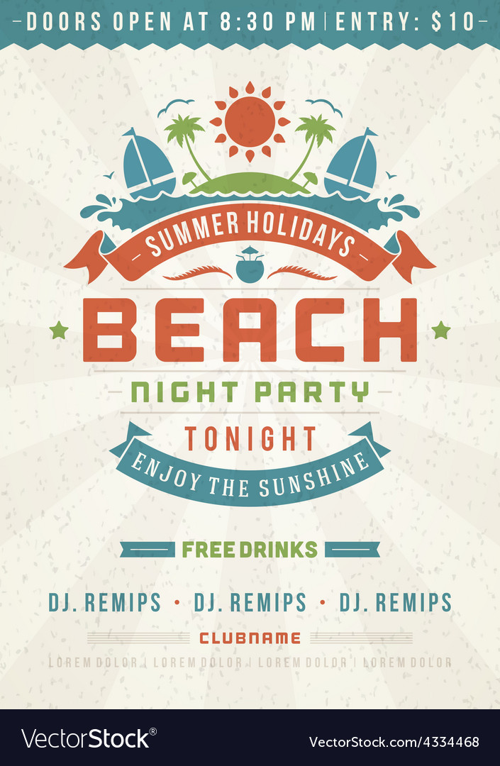 Retro beach poster design vector