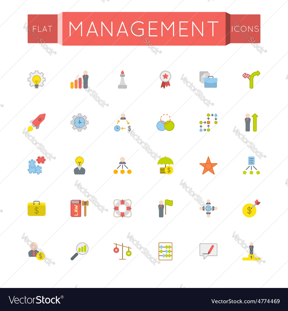 Flat management icons vector