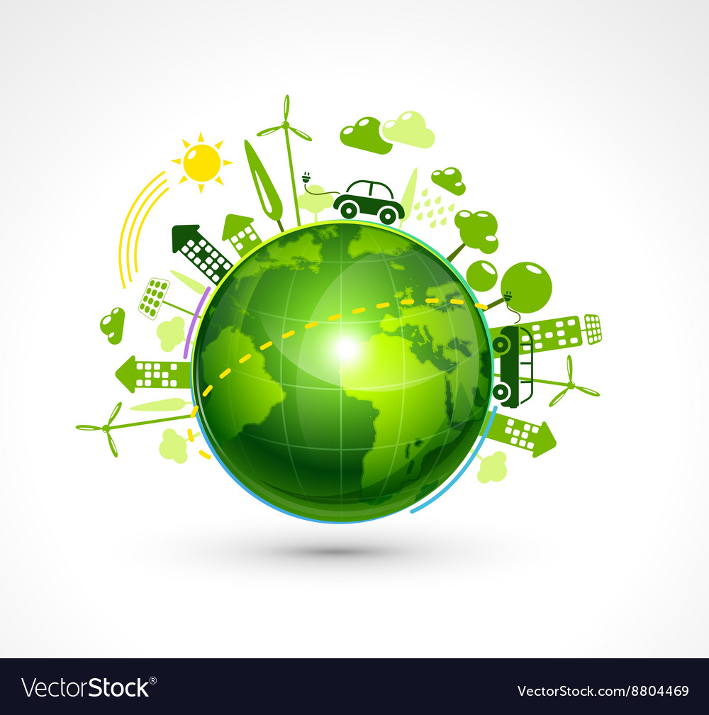 Green eco planet vector