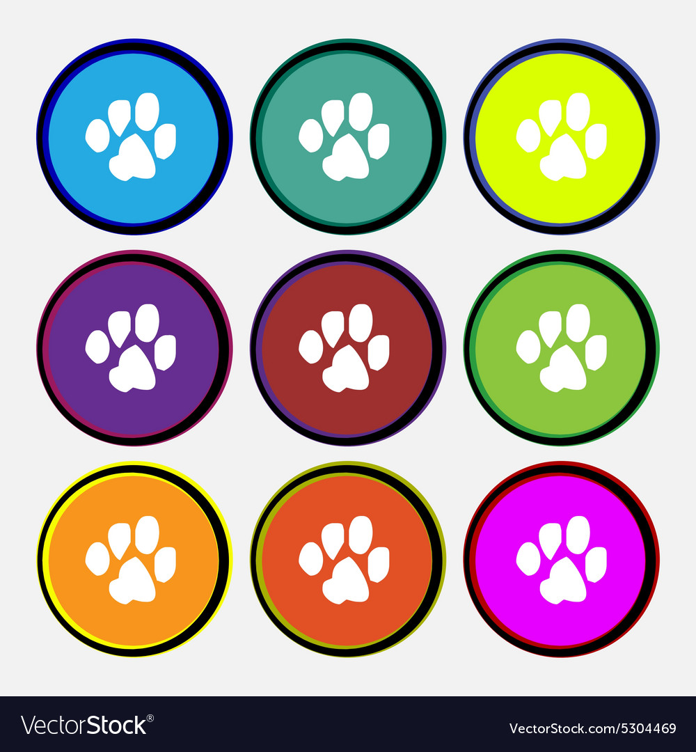 Trace dogs icon sign nine multi colored round vector