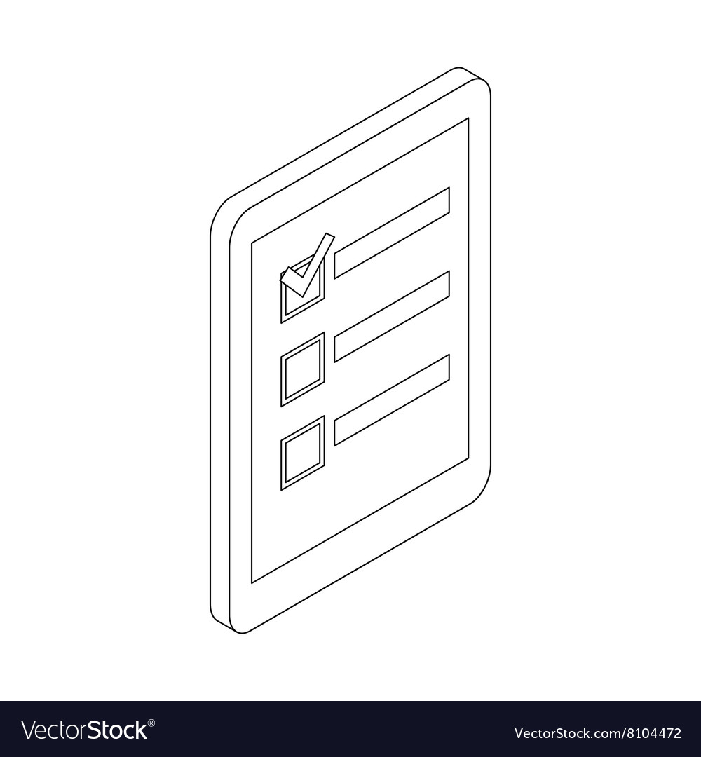 Check list icon isometric 3d style vector