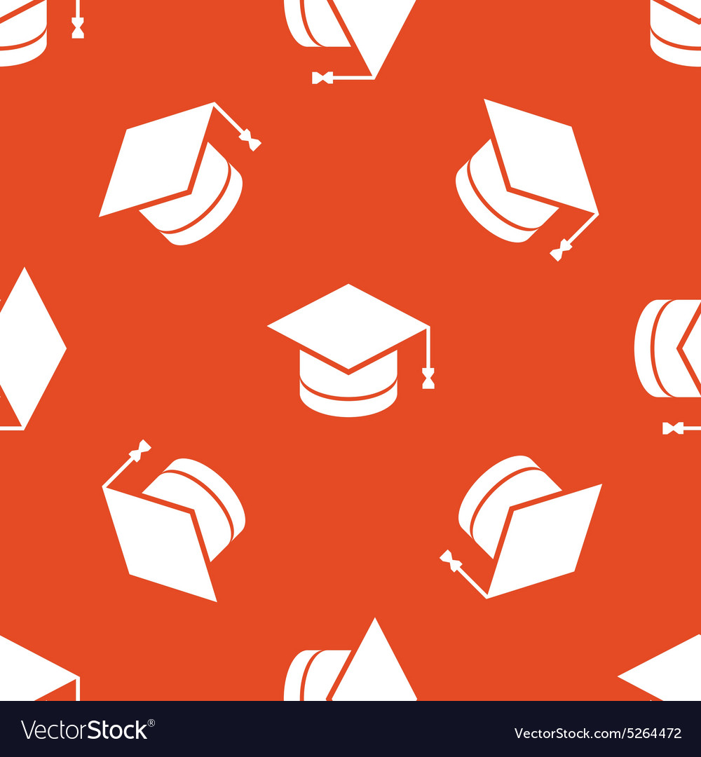 Orange academic hat pattern vector