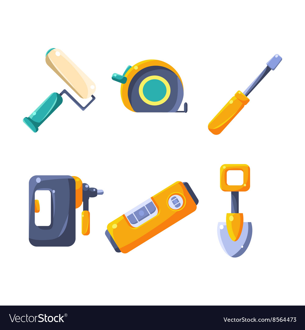 Construction work equipment collection vector