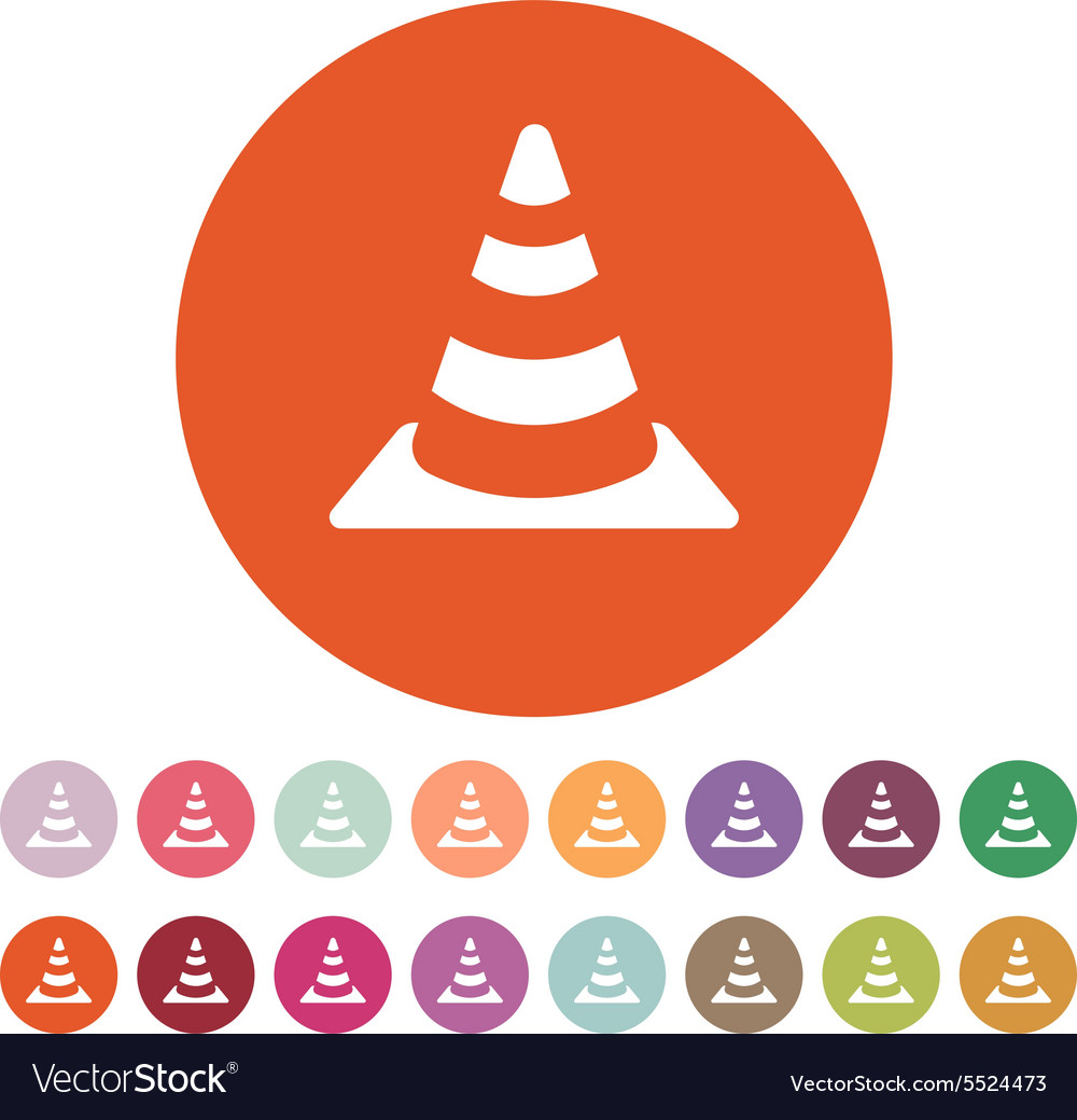 Traffic cone icon safety and attention vector