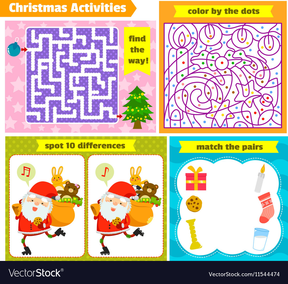 Christmas puzzle games vector