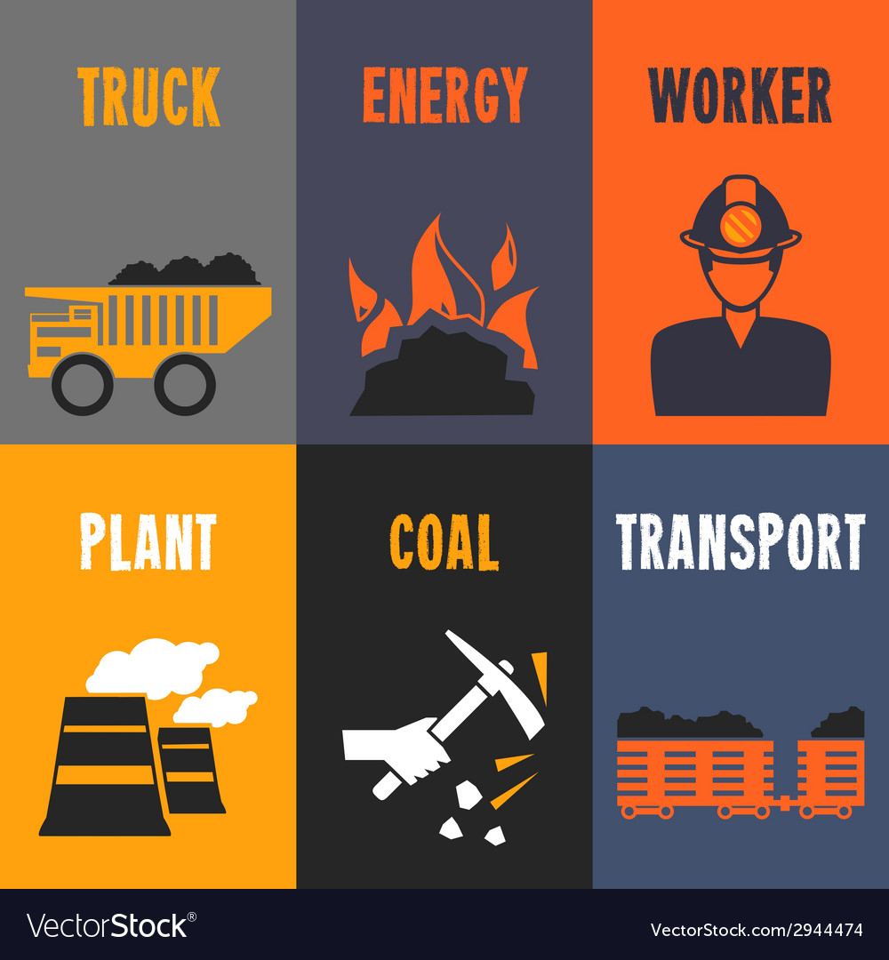 Coal industry mini posters vector