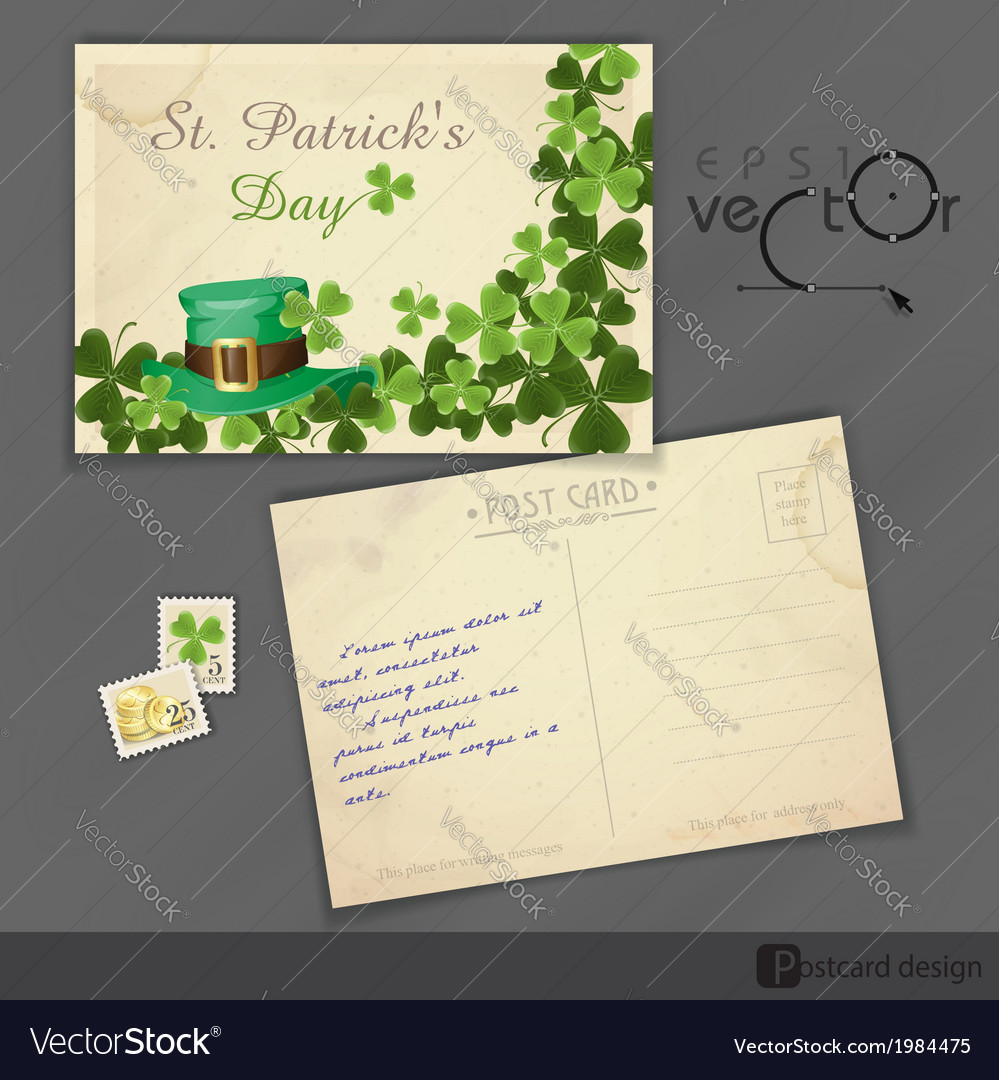 St patricks day background with leprechaun hat vector