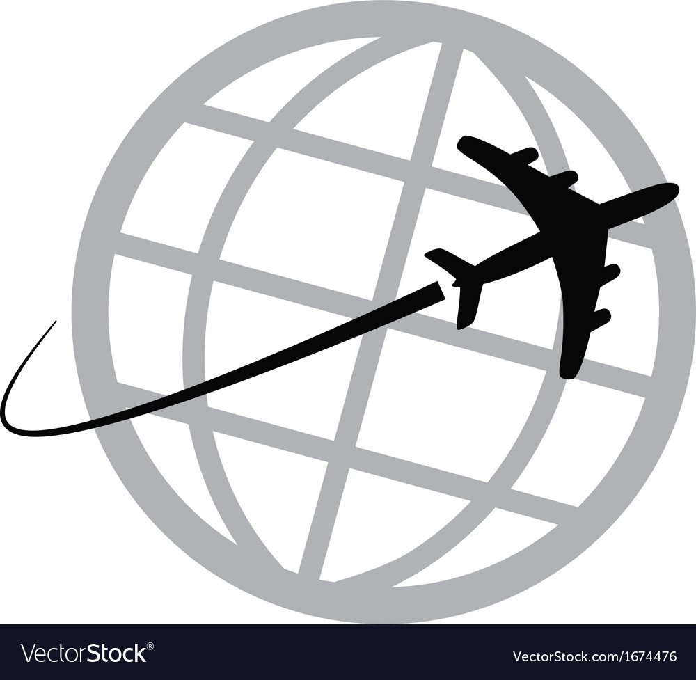 Airplane icon around the world vector