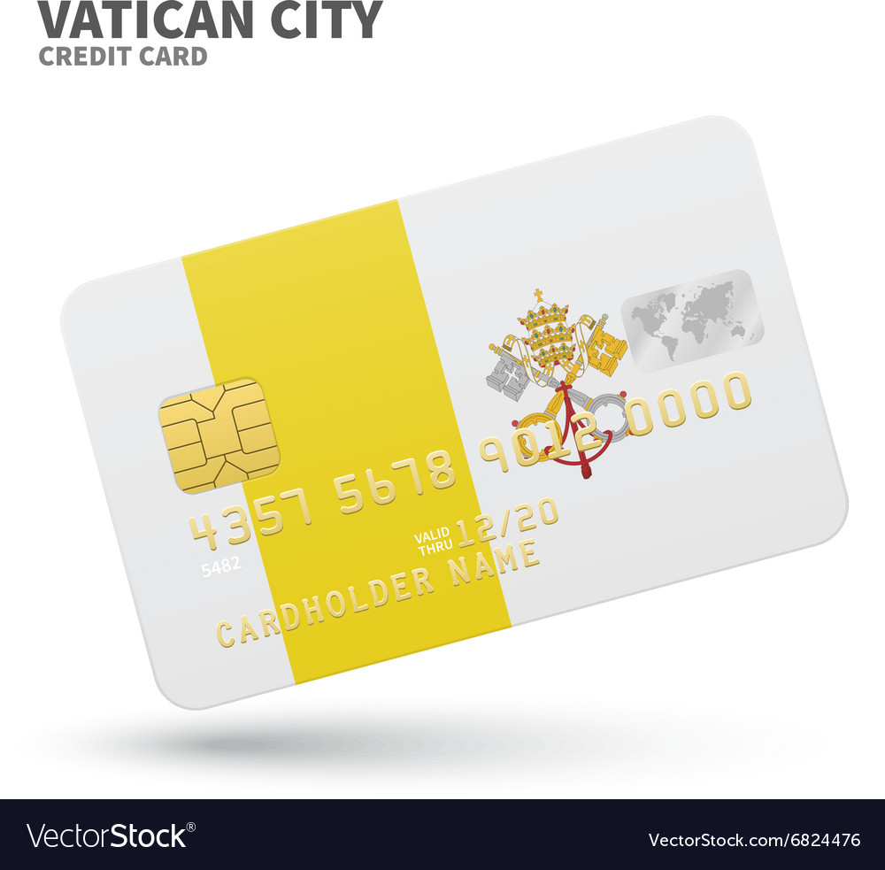 Credit card with vatican city flag background for vector