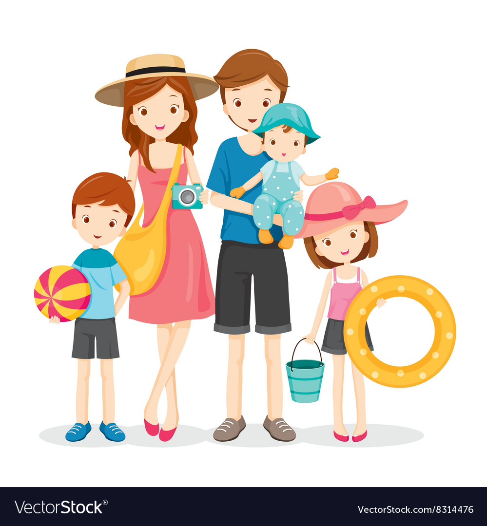 Happy family with summer trip vector