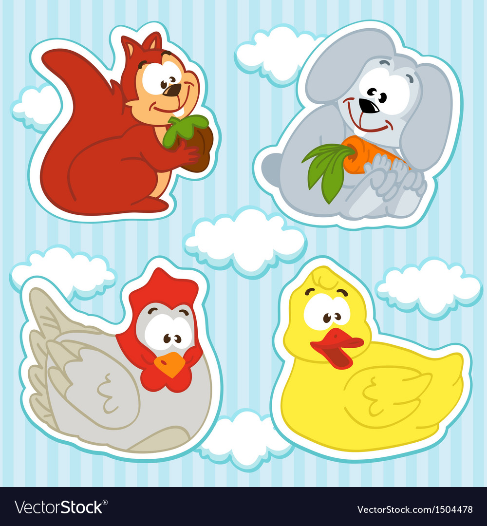 Animal and bird icon set vector
