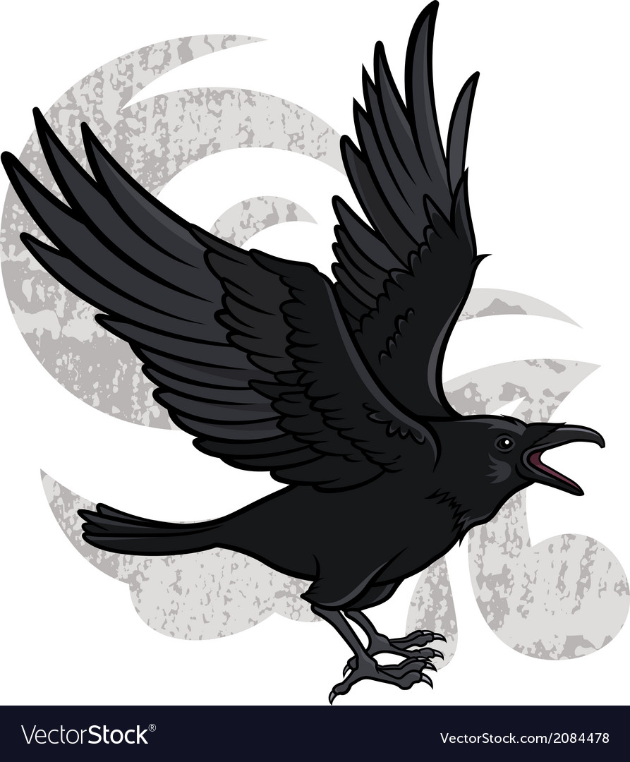 Flying raven vector