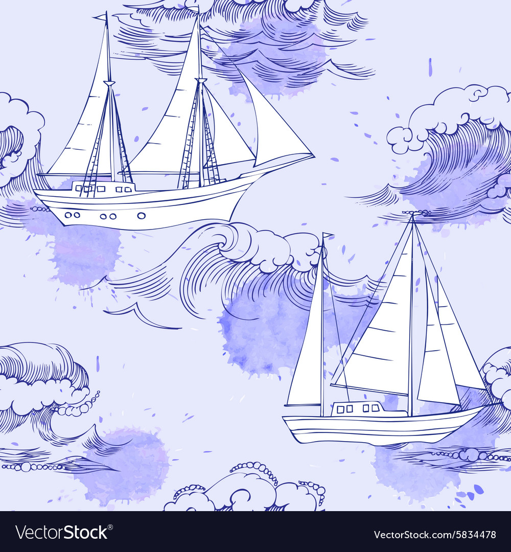 Seamless pattern with waves and ships04 vector