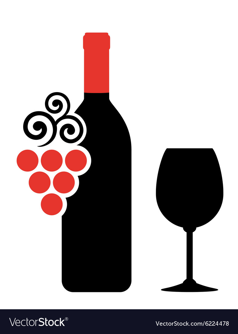 Wine bottle glass and grape vector