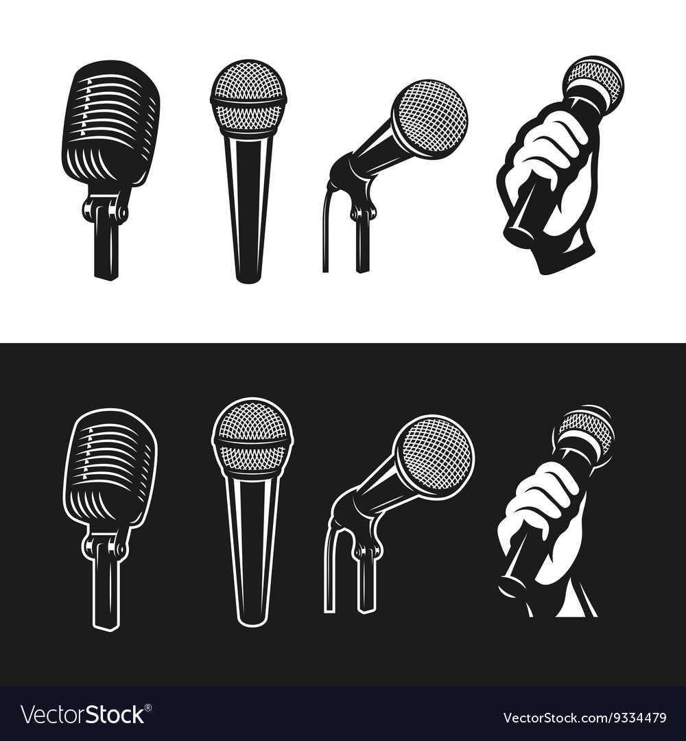 Set of monochrome microphones vector