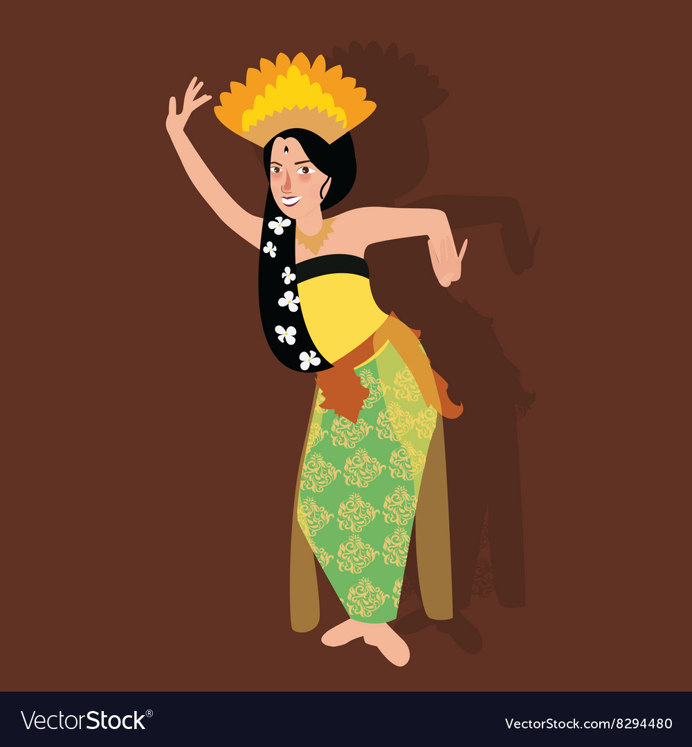 Bali balinese dancer traditional indonesia dance vector