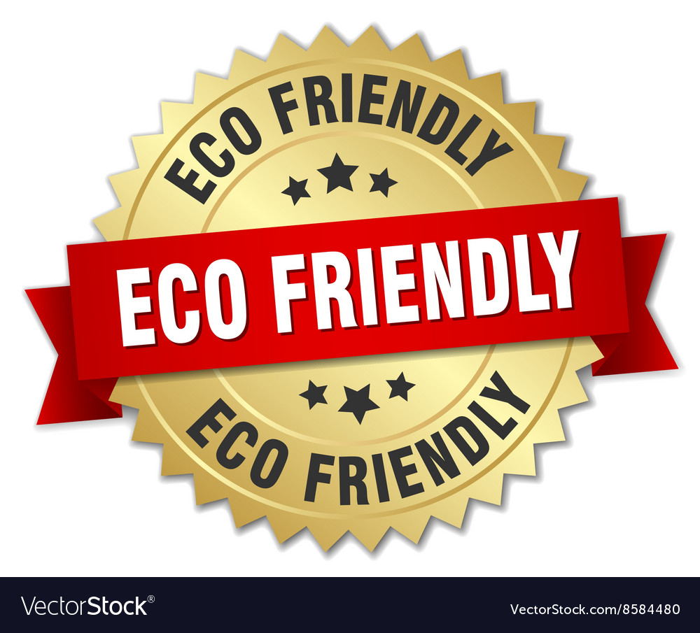 Eco friendly 3d gold badge with red ribbon vector