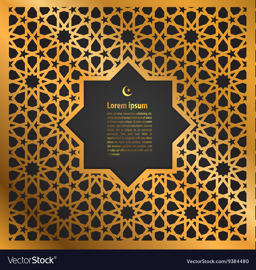 Gold ornament ramadan kareem greeting card vector