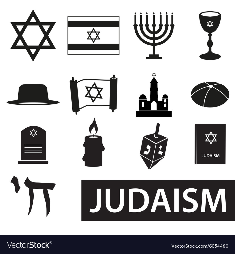 Judaism religion symbols set of icons eps10 vector