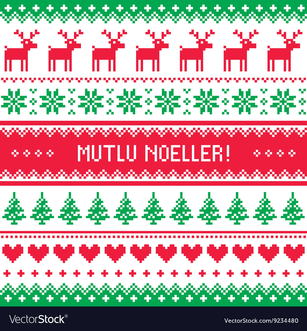 Merry christmas in turkish  mutlu noeller pattern vector