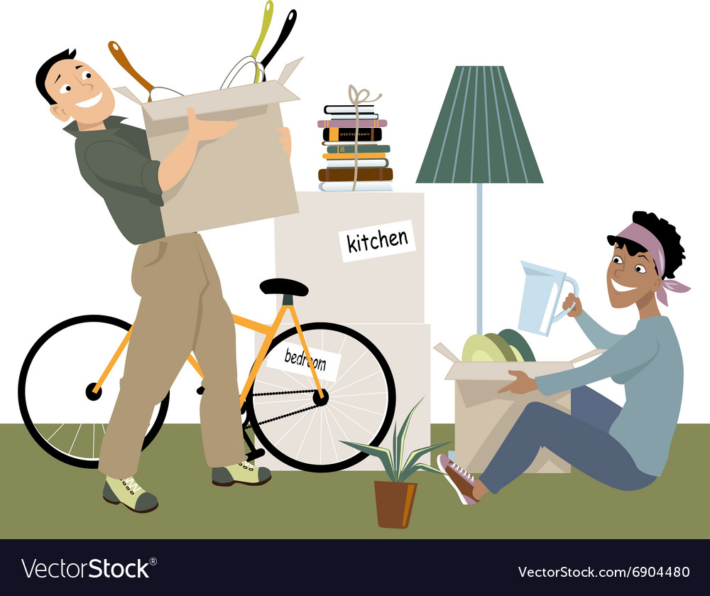 Moving in together vector