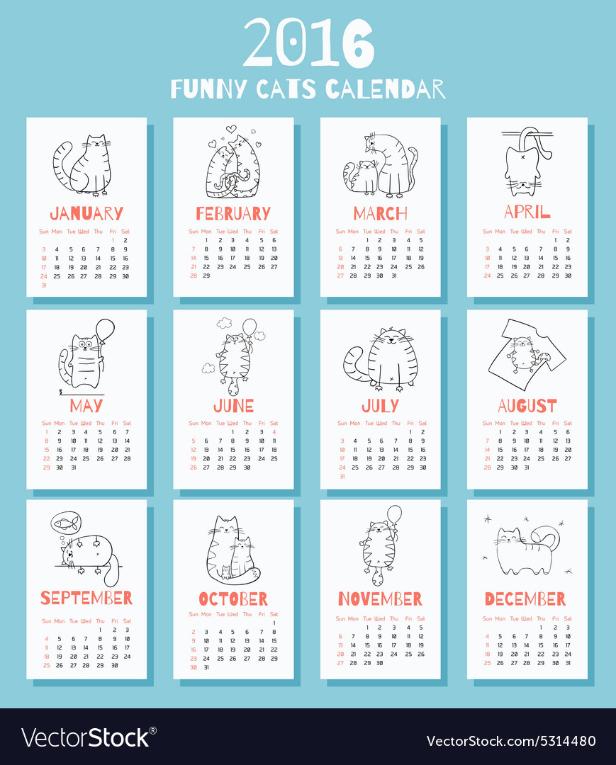 New 2016 year calendar with cute funny cartoons vector