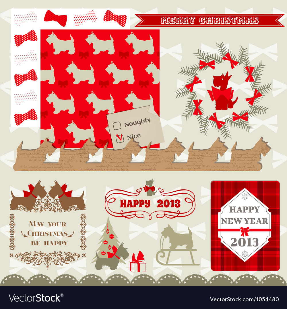 Scrapbook design elements  vintage christmas dog vector