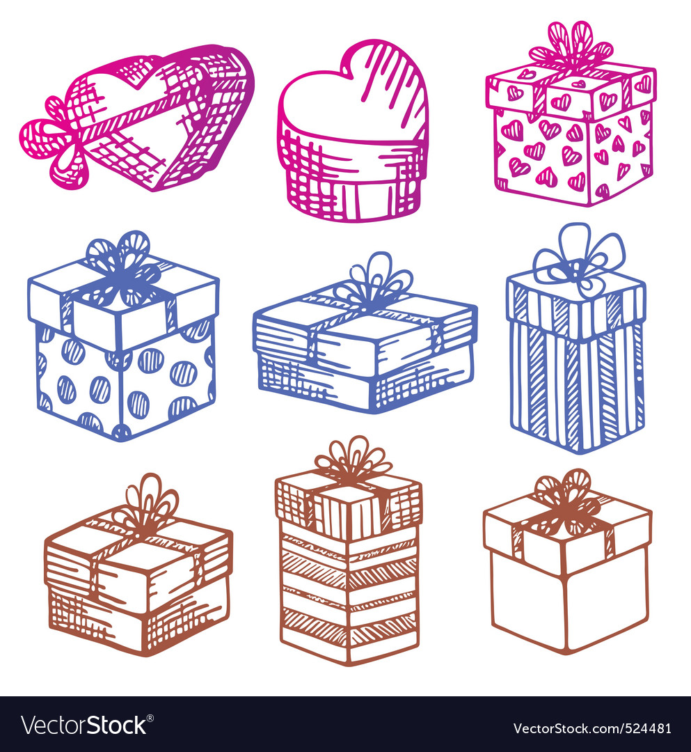 Handdrawn set of gift boxes vector