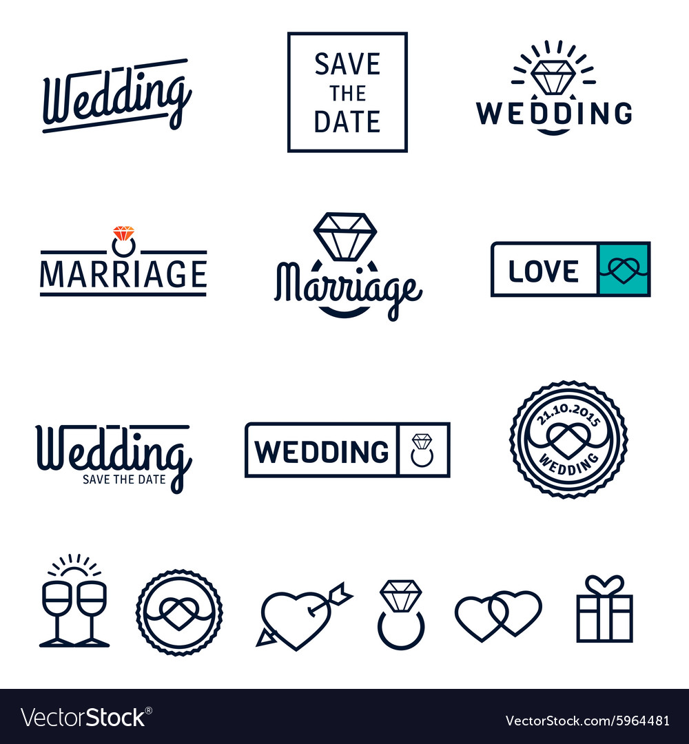Wedding set icons and logos vector