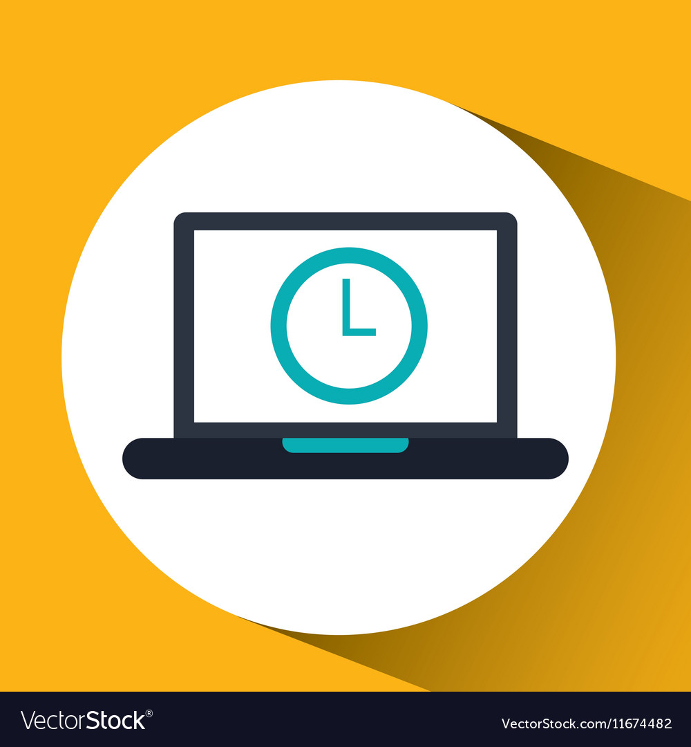 Cloud computing clock social media virtual icon vector