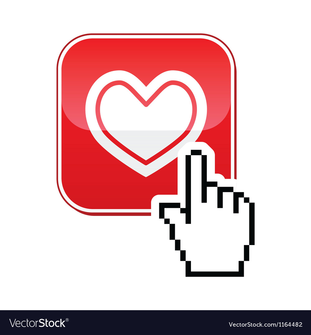 Heart button with cursor hand icon  velntines vector