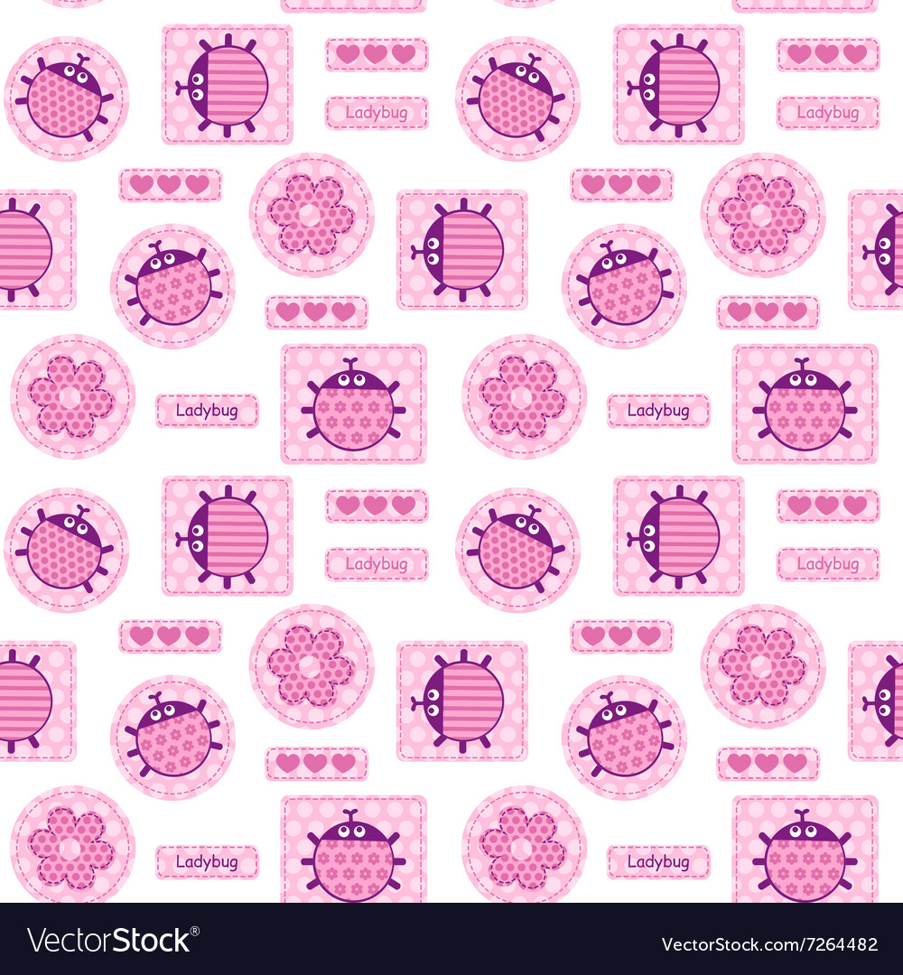 Ink ladybirds and hearts seamless pattern vector