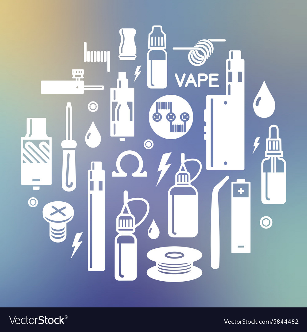 Vape and accessories on blurred background vector