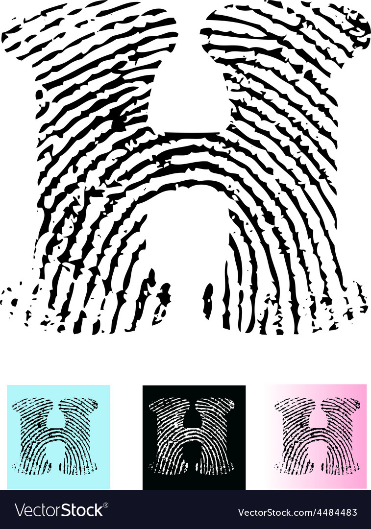 Fingerprint alphabet letter h vector