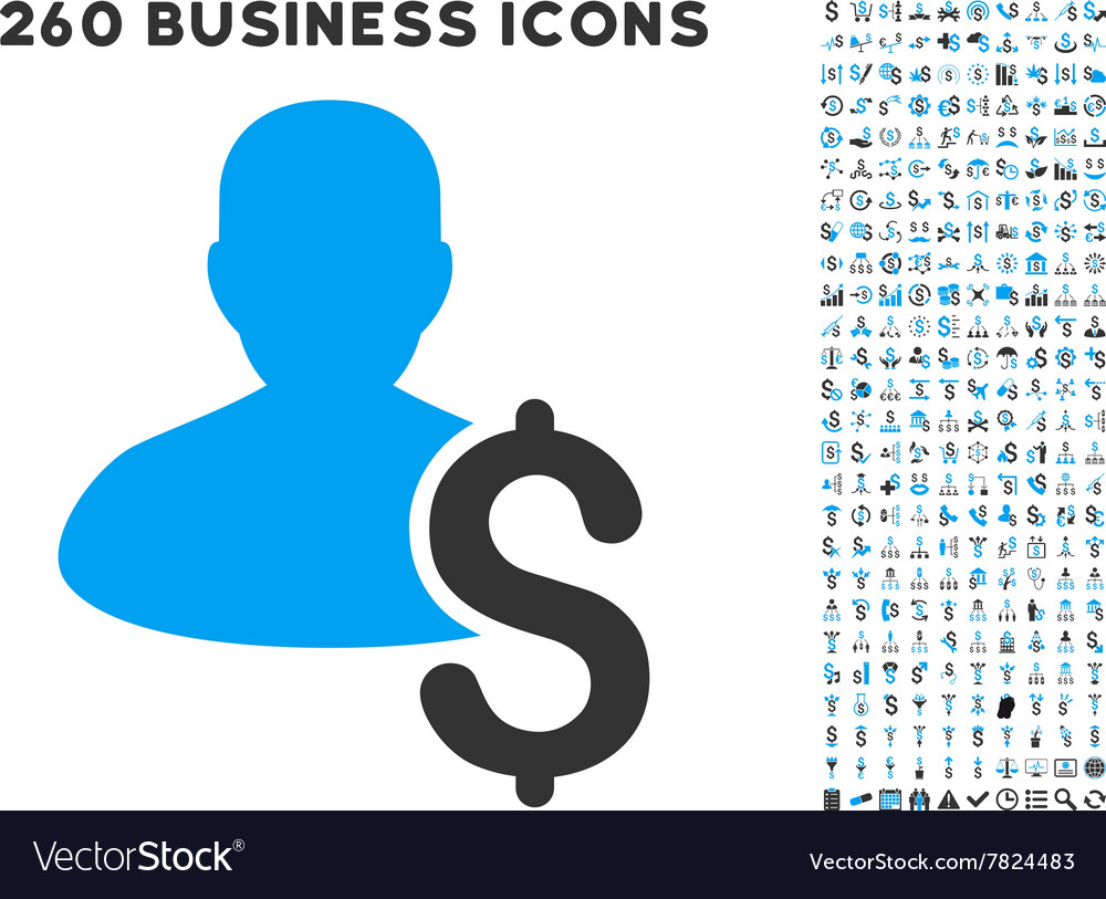 Loan person icon with flat set vector