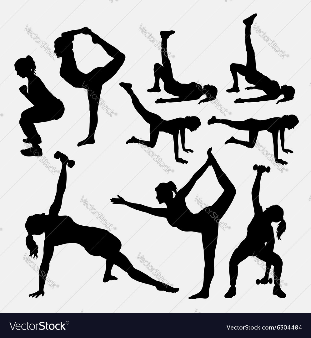 Girl fitness silhouettes vector