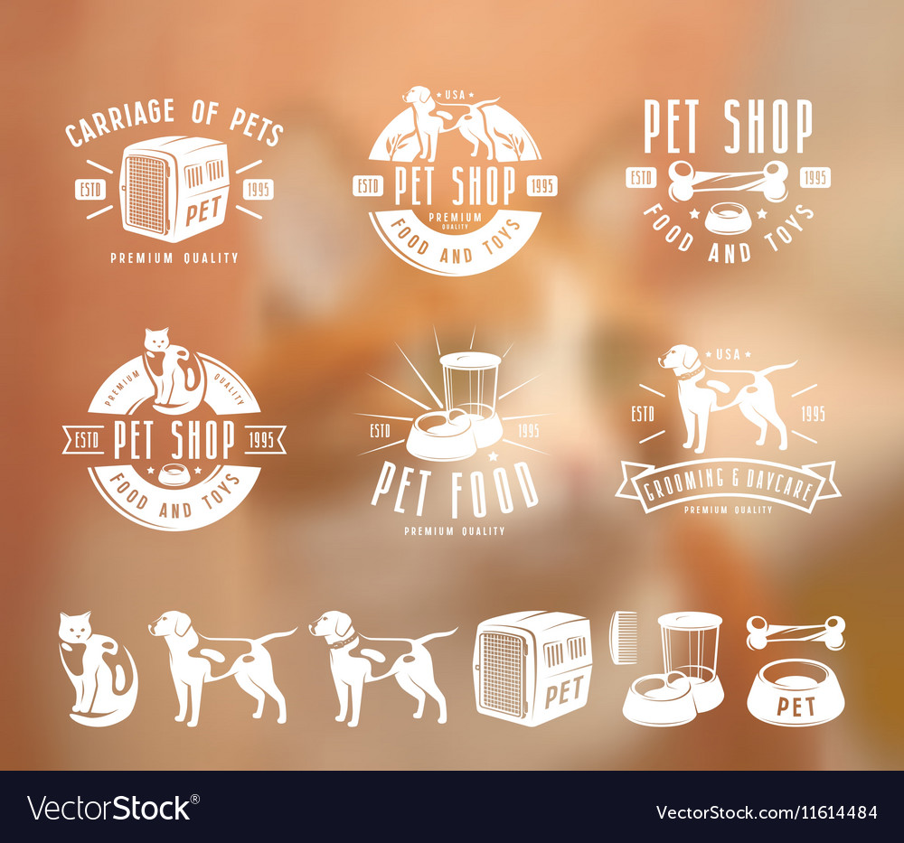 Set of pet care labels badges and design elements vector