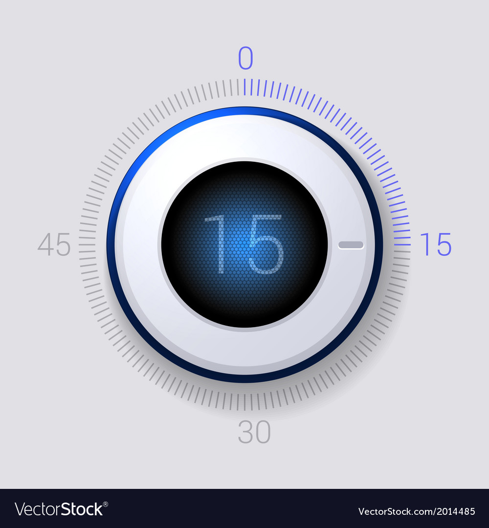 Electronic dial timer 15 seconds vector