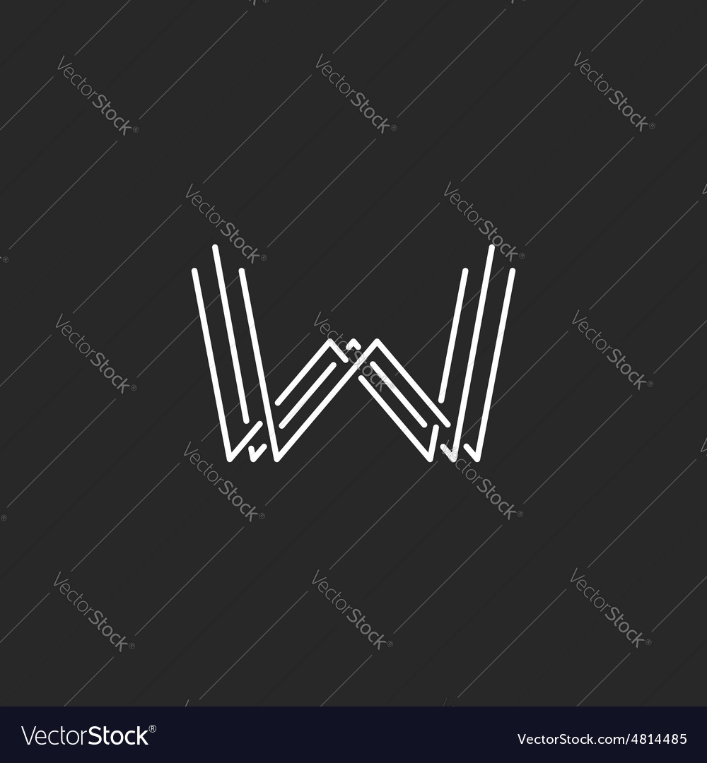 Modern letter w monogram logo mockup business card vector