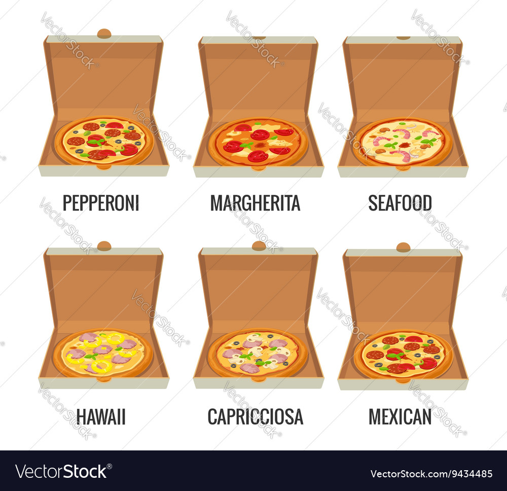 Set whole pizza in open white box pepperoni vector
