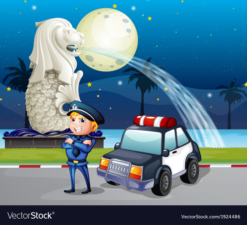 A policeman and his patrol car near the statue of vector