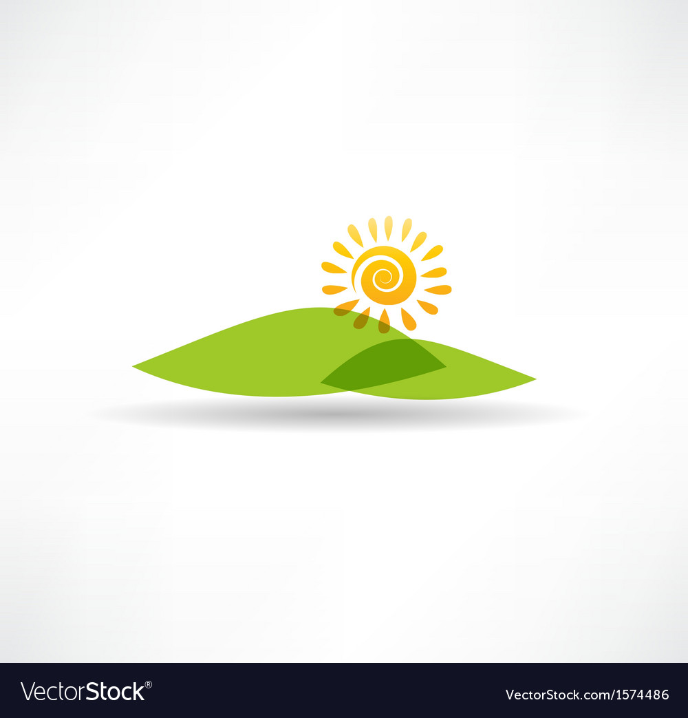 Sun and mountains icon vector