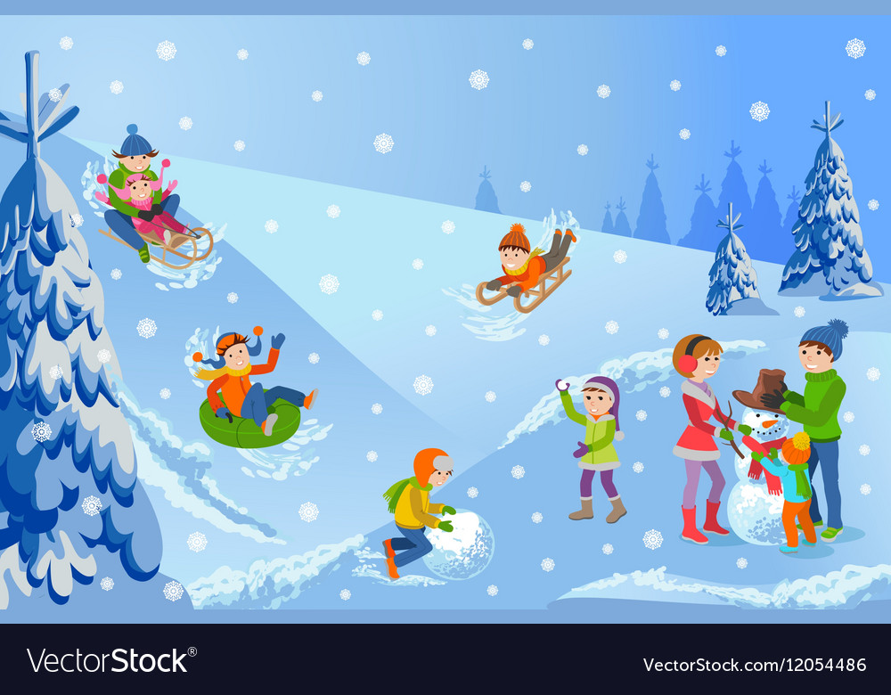 Winter landscape happy vector