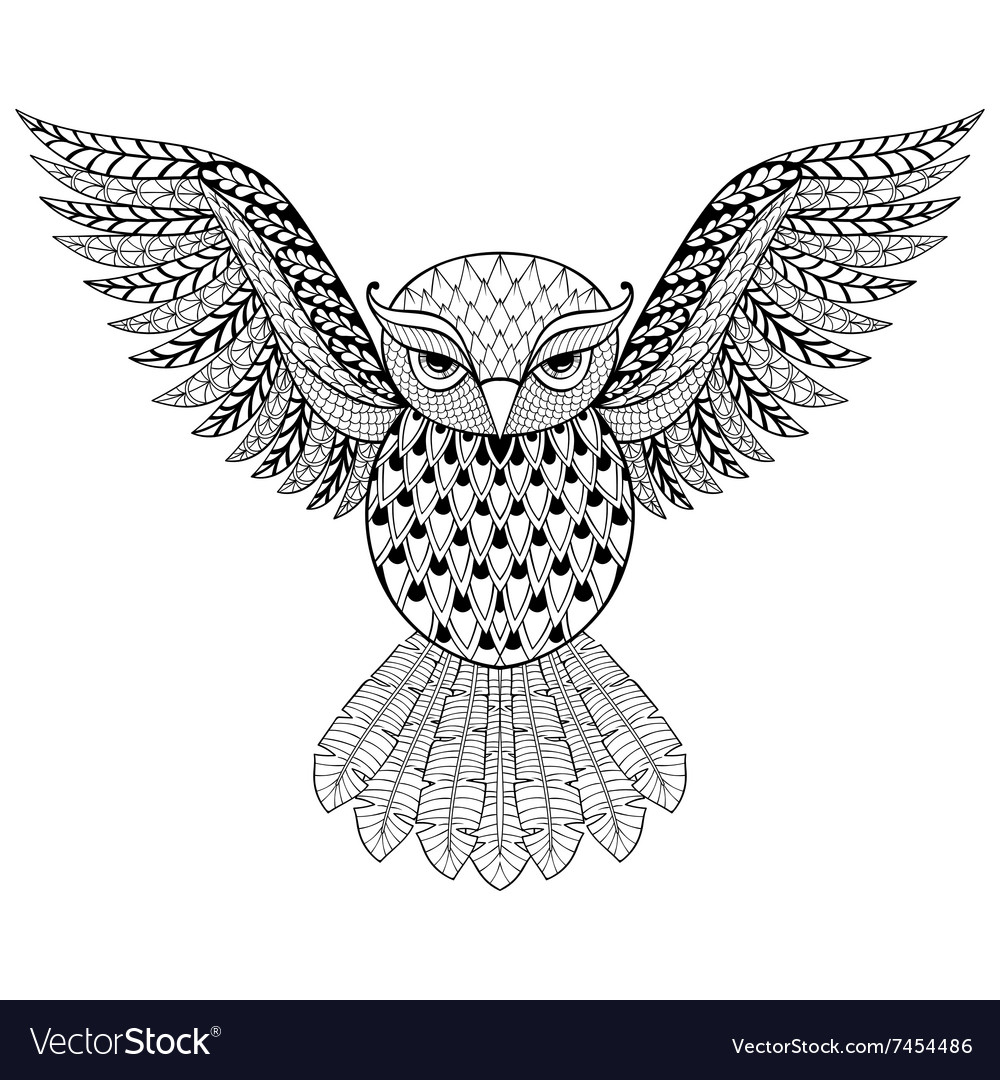 Zentangle owl for adult anti stress vector